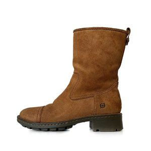 Born Pull On Leather Mid Calf Cap Toe Boots 9